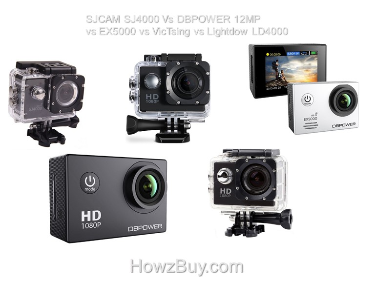 SJCAM SJ4000 Vs DBPOWER 12MP vs EX5000 vs VicTsing vs Lightdow LD4000 compare & review