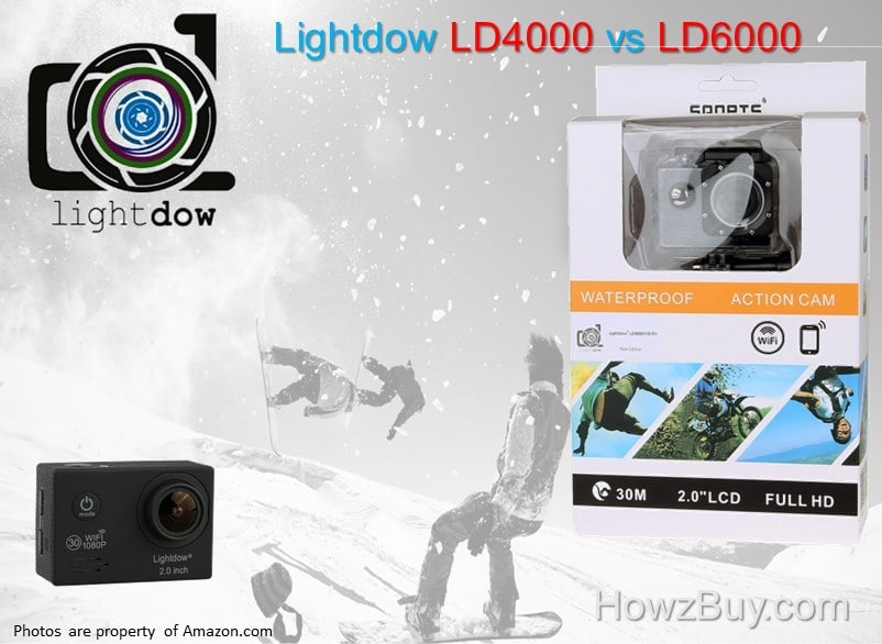 Lightdow LD4000 vs LD6000 Sports Action Camera Review & Compare
