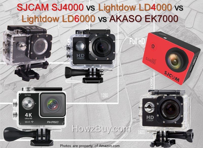 SJCAM SJ4000 vs Lightdow LD4000 vs Lightdow LD6000 vs AKASO EK7000