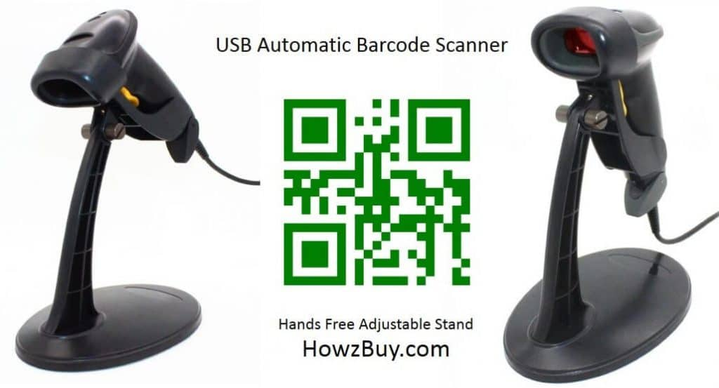 USB Automatic Barcode Scanner - with Hands Free Adjustable Stand
