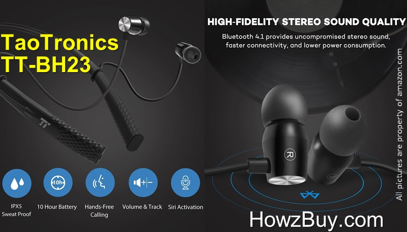 TaoTronics TT-BH23-TaoTronics-TT-BH23-wireless-bluetooth-headphone-wireless headphone-battery life-review-earbud-neckband-waterproof-best-best seller-amazon