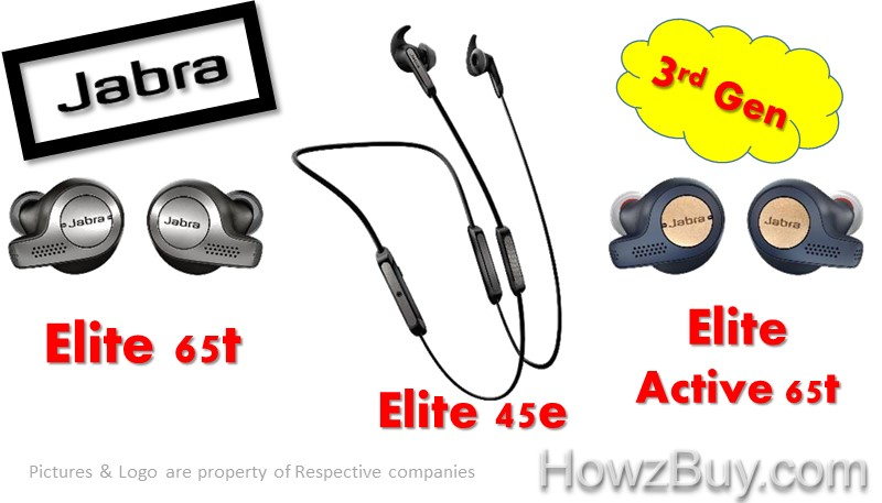 Jabra Elite 65t vs Active 65t vs Elite 45e earbuds