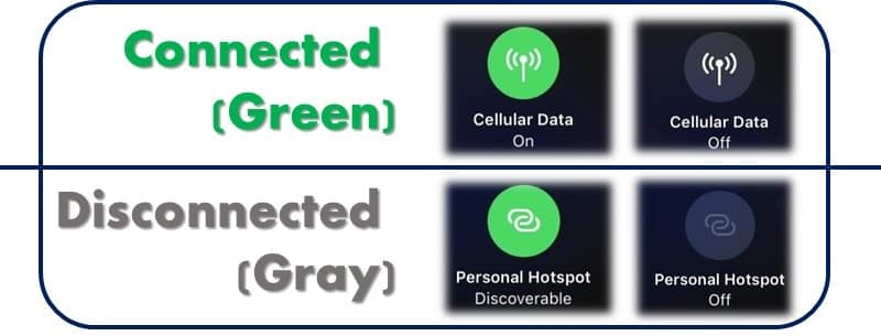 iOS 11 Bluetooth & WiFi - cellular data personal hotspot toggle
