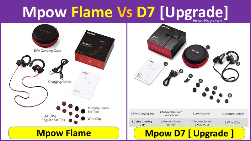 Mpow Flame Vs D7 Upgrade specs and accessories comparison