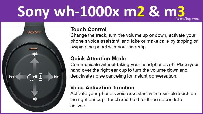 Sony wh-1000x m2 & m3 specs