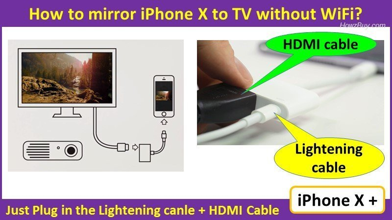 How to mirror iPhone X to TV without apple TV? wired & wireless