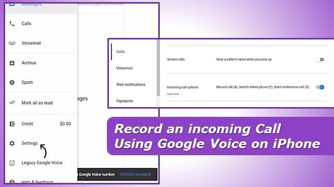 Record an incoming Call using google voice on iphone FREE