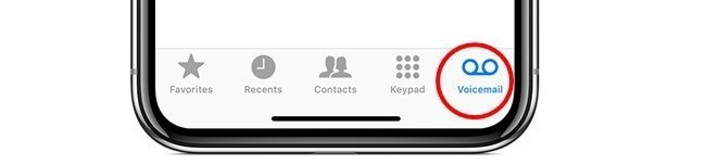 voicemail tab on iphone for viewing recordings