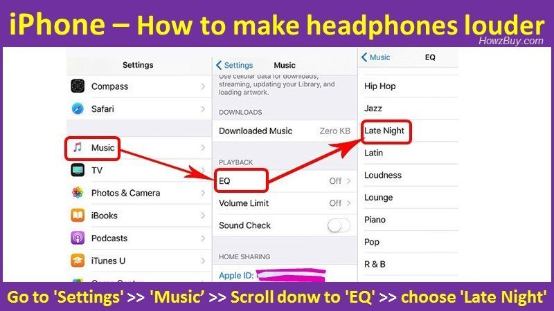 How to make headphones louder on iPhone using latenight settings?