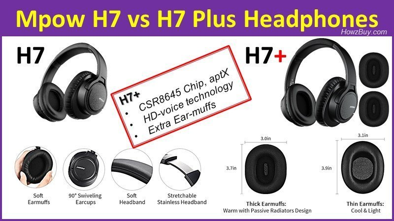 Mpow H7 vs H7 Plus bluetooth Headphones comparison and review