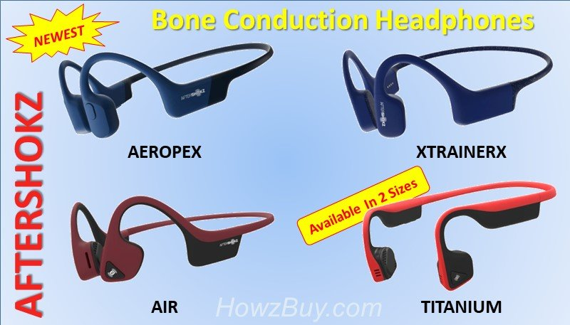 AfterShokz Titanium Trekz vs. Air vs Aeropex vs Xtrainerz Bone Conduction Headphones Specs Comparison