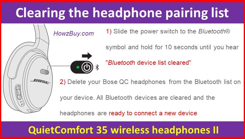 Clearing the headphone pairing list on QuietComfort 35 wireless headphones II