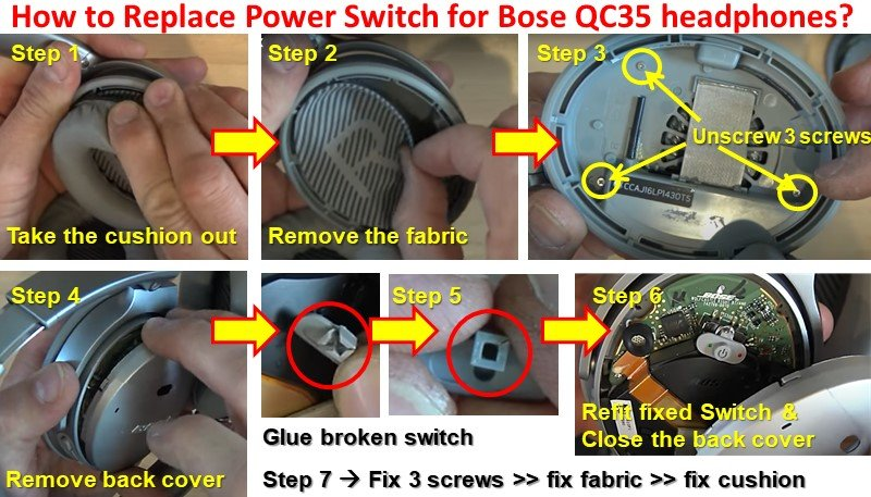 How to Replace Power Switch for Bose QC35 headphones