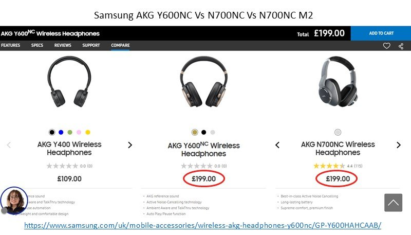 Samsung AKG Y600NC Vs N700NC for 199 pounds price july 2020
